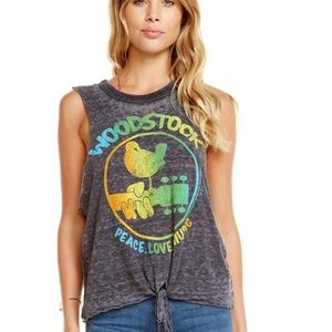 NWT Chaser Woodstock Graphic Tie Front Tank